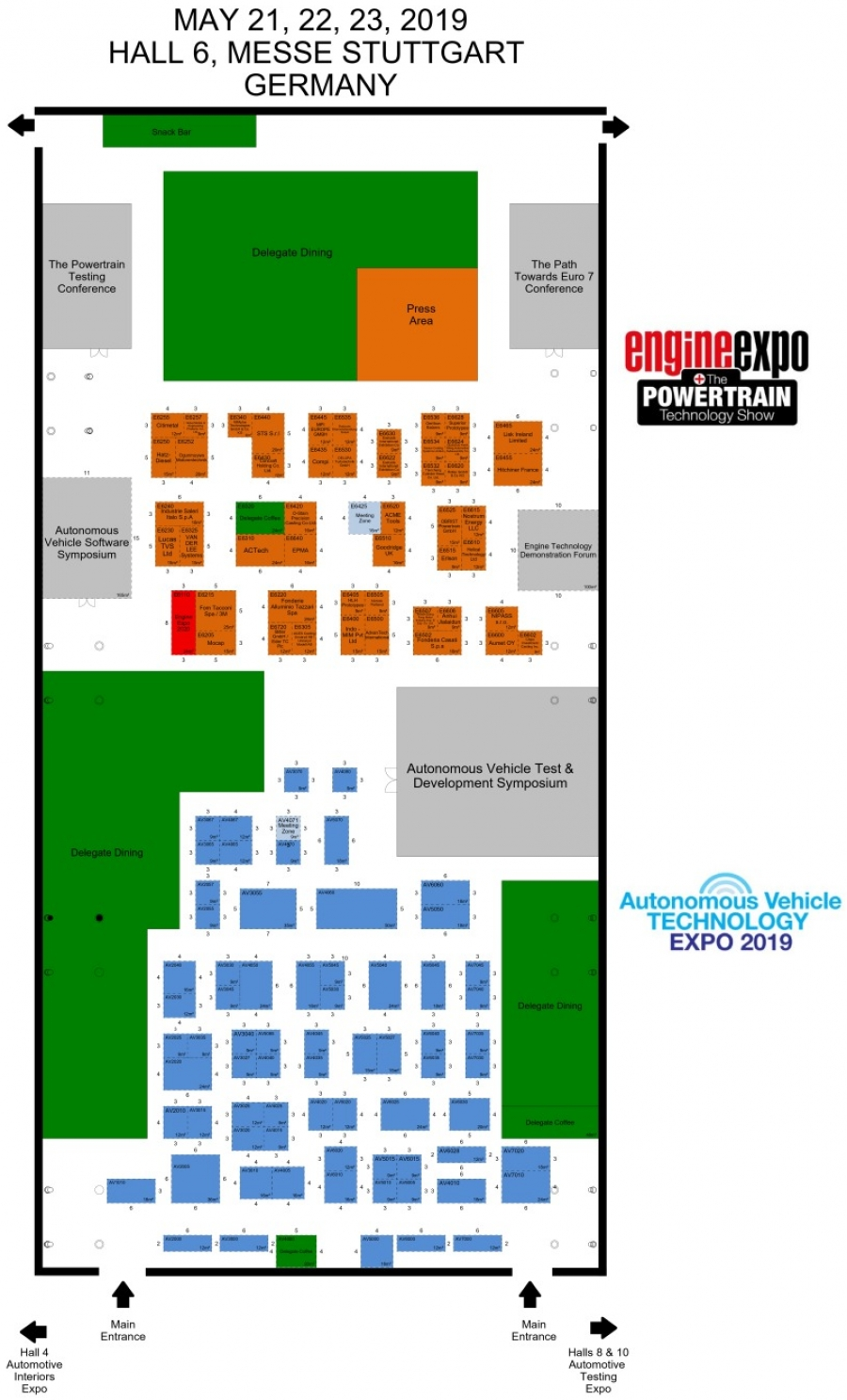 Floor plan of Engine Expo's exhibitor layout