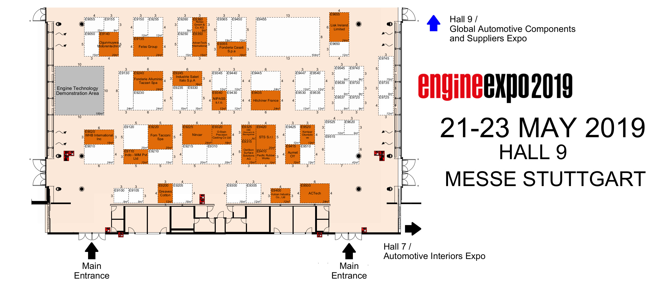 Hallenplan der Engine Expo